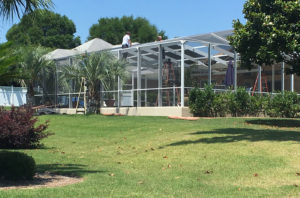 Rescreening aluminum pool enclosure