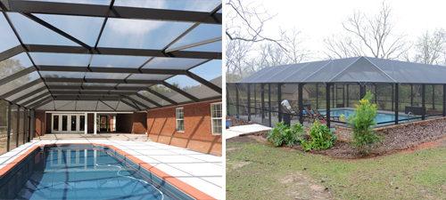 Full mansard pool enclosures