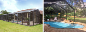 Gable and hip end pool enclosure